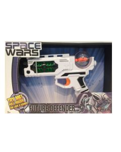 Space Wars pistol med lyd og lys - hvit og grønn