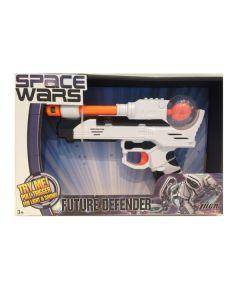 Space Wars pistol med lyd og lys - hvit og oransj