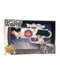 Space Wars pistol med lyd og lys - hvit og sort
