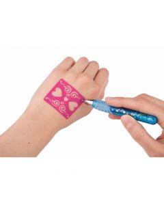 Ylvis World glittergel penner med stensiler til tattoos