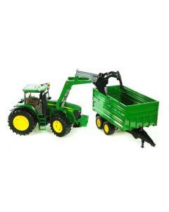 Bruder John Deere 7930 traktor med frontlaster og tippehenger  - 03055