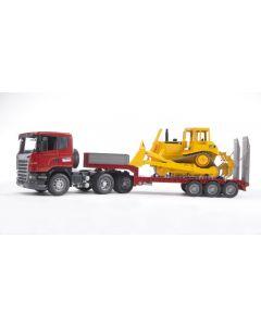 Bruder Scania R-Series Low loader lastebil med CAT bulldozer - 03555