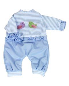 Lissi dukkeklær - str. 42cm blå med fugler