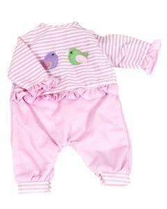 Lissi dukkeklær - str. 42cm lys rosa med fugler