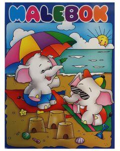 Malebok A4 elefanter på stranda - 288 sider