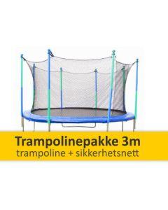 3 m trampolinepakke - trampoline + sikkerhetsnett