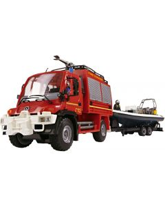 Dickie Toys unimog SOS trailersett - brannbil - 48 cm