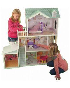 Dukkehus i tre - møbler inkludert - 3 etasjer