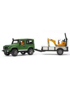 Bruder Land Rover Defender med tilhenger - JCB mikrogravemaskin og figur - 02593