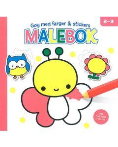 Rebus rosa malebok - gøy med farger og stickers