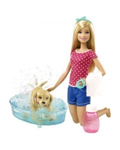 Barbie med hundevalp og hundebad