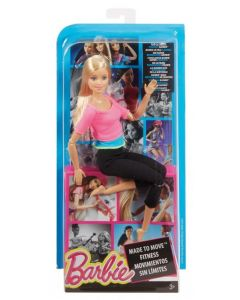 Barbie Made to move Fitness dukke - rosa top