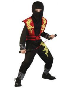 Ninjakostyme rød - 130-140 cm
