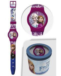 Disney Frozen analog klokke i tinnboks - lilla
