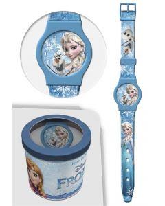 Disney Frozen analog klokke i tinnboks - lyseblå