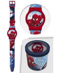 Spiderman analog klokke i tinnboks - rød