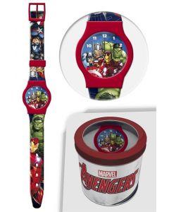Avengers analog klokke i tinnboks - rød