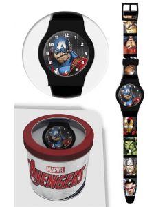 Avengers analog klokke i tinnboks - sort