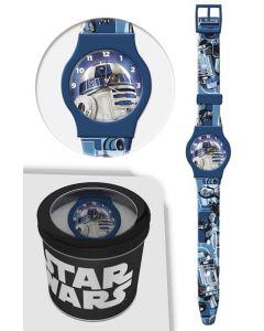 Star Wars analog klokke i tinnboks - blå