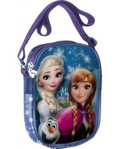 Disney Frozen veske med Elsa, Anna og Olaf 3D-motiv - lilla