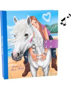 Miss Meldoy dagbok med kodelås og musikk - blå