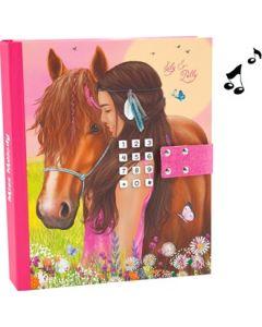Miss Melody dagbok med kodelås og musikk - rosa