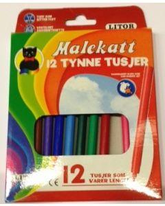 Malekatt tynne tusjer - 12 ulike farger