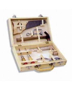 Verktøykoffert i tre  - 8 deler - med ekte verktøy for barn