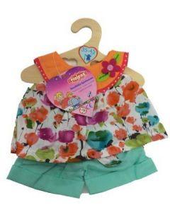 Heless - Kortbukse og løs topp med blomster til 35-45 cm dukke