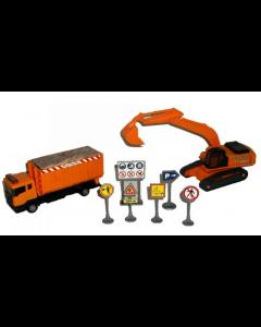 Byggeplass-sett  - lastebil og gravemaskin