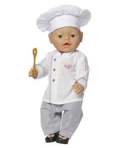 Baby Born kokkesett 43cm til gutt - grå