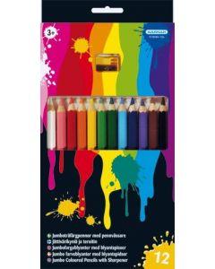 Kärnan fargeblyanter med blyantspiser - 12stk