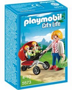 Playmobil mamma med tvillingsportsvogn