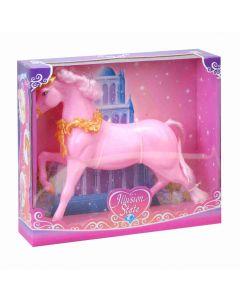 Rosa hest med glitter - som passer til 29 cm dukker
