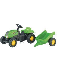 RollyToys Grønn traktor med tilhenger - plasthjul