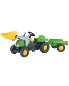 RollyToys Grønn traktor med grabb og tilhenger - plasthjul
