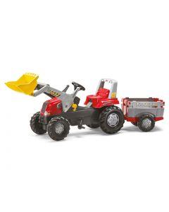 RollyToys Stor rød traktor med tilhenger - plasthjul