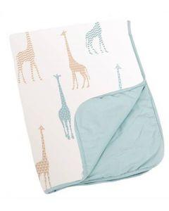 Doomoo vattert teppe - giraf blue