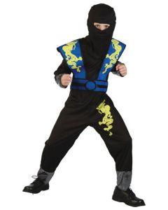 Ninjakostyme 110-120cm - blå