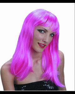 Partyparykk med bølger - rosa