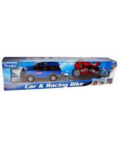 Bil og racersykkel - blå bil