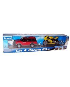 Bil og racersykkel - rød bil