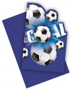 Invitasjonskort fotball - 6 stk per pkn.