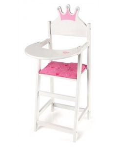 Dukkestol i tre med prinsessekrone