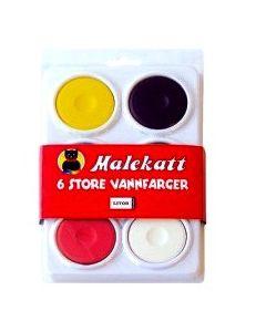 Malekatt - 6 store vannfarger