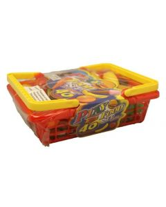 Lekefrukt- og mat  i rød korg  - 40 deler