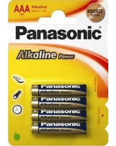 Panasonic AAA Alkaline batterier 4-pakning
