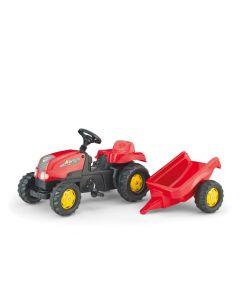 RollyToys Rød Traktor med tilhenger - plasthjul
