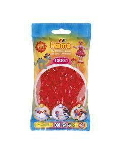 Hama Midi 1000 perler røde gjennomsiktige